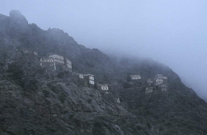 Hillside homes on the drive from Sana'a to Aden.
