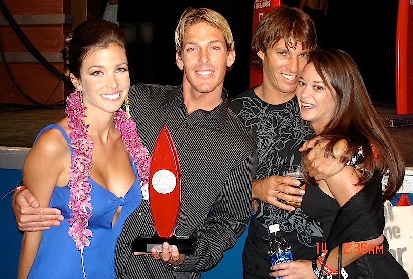 Andy Irons and Cory Lopez with wives at the Surfer Poll