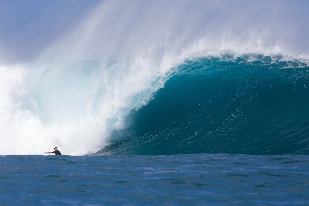 "Brandon ""Laserwolf"" Campbell surfing an outer reef."