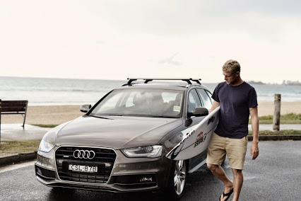 The three-timer Mick Fanning and his Audi A4 Avant.