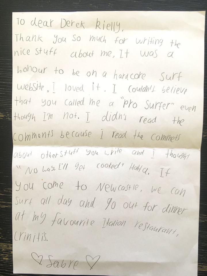 Sabre Norris letter