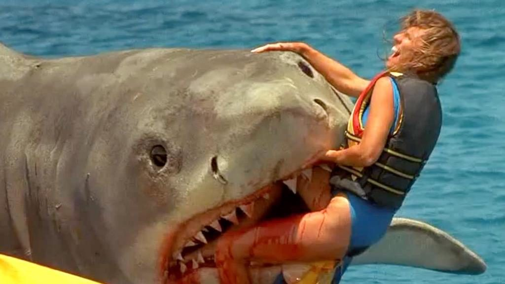 Great White Shark in Waves All Over Mens Black Back T Shirt